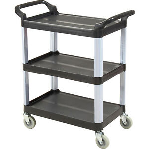 Luxor Black 3 shelf Plastic Serving Utility Cart 200 Lb Capacity 33 1 2 l X