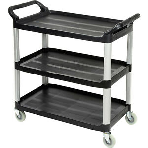 Luxor Black 3 shelf Plastic Serving Utility Cart 300 Lb Capacity 40 1 2 l X