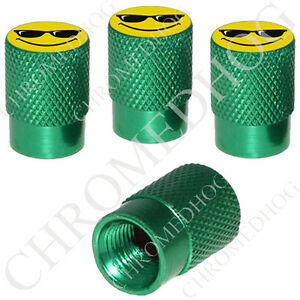 4 Green Billet Aluminum Knurled Tire Air Valve Stem Caps Cool Smile Face