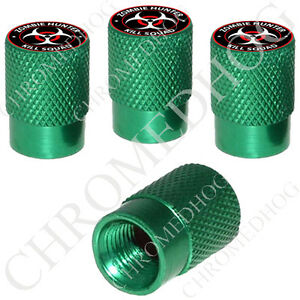 4 Green Billet Aluminum Knurled Tire Air Valve Stem Caps Zombie Hunter Rw