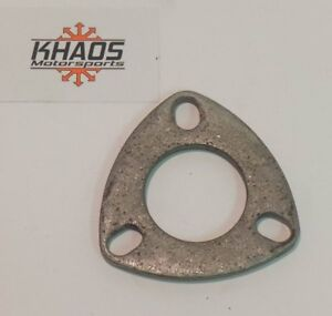 2 In Universal Mild Steel Flange Exhaust Pipe 3 Hole Oval Cat Back Header
