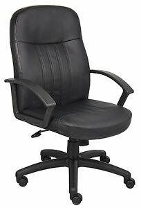 Boss Office Products B8106 Executive Leather Budged Chair In Black New