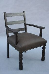 1920s Spanish Revival Armchair Wood Leather Antique Riveted Chair 9815