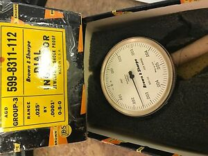 Brown And Sharpe 599 8311 112 Dial Indicator 025 By 0001