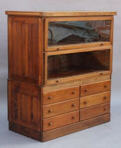 1910 Large Store Display Cabinet W Glass Doors Wood Drawers Antique 9633