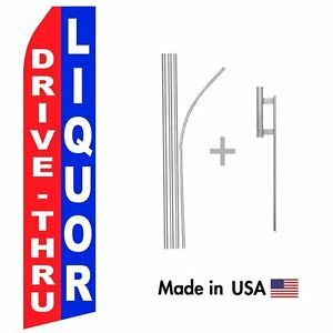 Drive Thru Liquor Econo Flag 16ft Advertising Swooper Flag Kit With Hardware