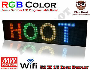 Led Sign 52 x15 Rgb 7 Colour Semi outdoor Programmable Scrolling Usb Wifi App