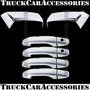 For Chevy Silverado 2014 2015 2016 Chrome Covers Half Mirrors 4 Door Handles Psk