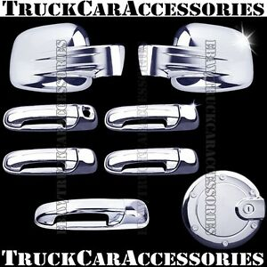 For Jeep Liberty 2002 2006 2007 Chrome Covers Set Full Mirror doors gas tailgate