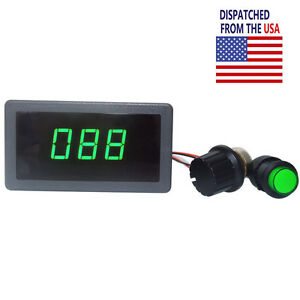 Dc 6v 12v 24v Pwm Motor Speed Controller Green Digital Led Display Regulator 8a