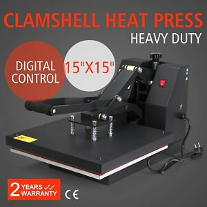 Digital Heat Press Transfer T shirt Hat Bag Clamshell Sublimation Machine 15 X15