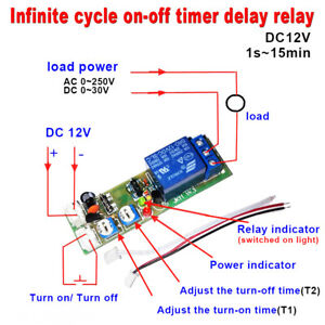 Dc 12v Infinite Cycle Delay Timing Timer Relay On Off Switch Loop Module Time