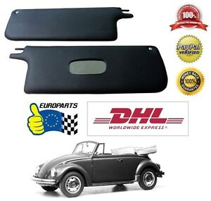 Volkswagen Vw Old Beetle 1500l Cabrio Sun Visors Black Leatherette Free Shipping