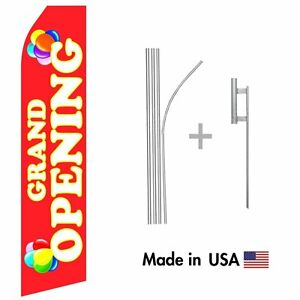 Grand Opening Econo Flag 16ft Advertising Swooper Flag Kit With Hardware
