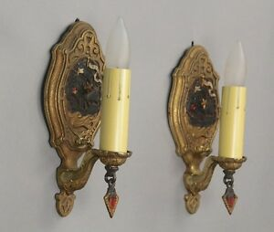 Pair 1920s Antique Sconce Lights W Galleon Motif Spanish Revival Tudor 1