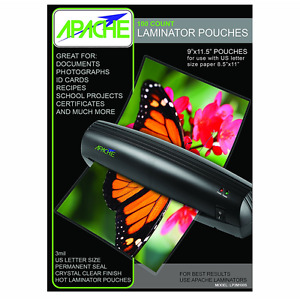 Apache Thermal Laminator Pouches 3 Mil Letter Size 9x11 5 Universal 100 Ct New