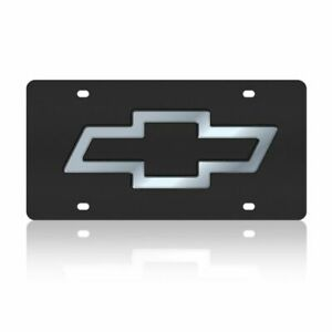 Stainless Steel Black Chevy Logo License Plate Frame 3d Novelty Tag