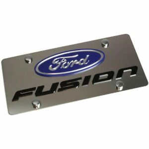 Stainless Steel Ford Fusion Blue Mirror Logo Black License Plate Frame Novelty