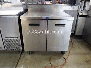 Double Door Reach In Worktop Forced Air Freezer Stainless Steel Prep Station