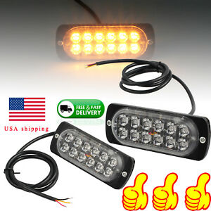 Pair Car Amber Emergency Warning Flashing Strobe Light Hazard Grill Bar 12 24v