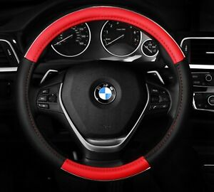 Steering Wheel Cover Red Black Chrome Line Two Tone Anti Slip 14 5 15 5 M