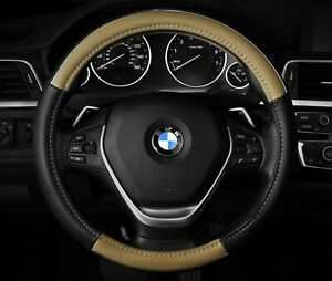 Steering Wheel Cover Beige Black Chrome Two Tone 14 5 15 5 M