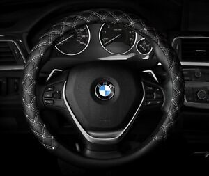 Black White Stitch Quilted Diamond Steering Wheel Cover Fits 14 5 15 5 M