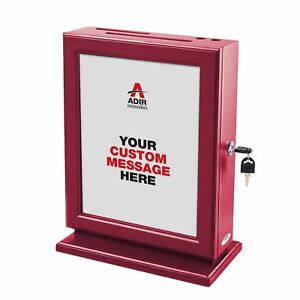 Adir Customizable Wood Suggestion Box Red With A Free Pack Of Refill Sugg