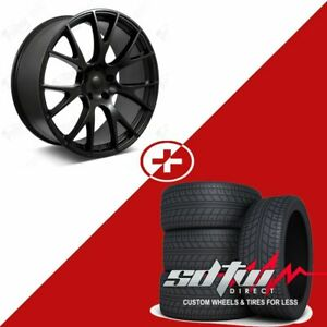 22 Hellcat Style Wheels Tires Fits Dodge Ram 1500 Durango Dakota Satin Black