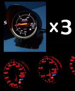 3 X 60mm Red White Gauge Kit Meter Boost Egt Volt Water Oil Temp Pressure Afr