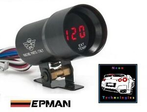 3 X 37mm Digital Gauge Kit Red Led Oil Water Temp Pressure Boost Exhaust Afr