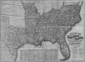 Us Confederate States 1862 Al Map Montgomery Moody Muscle Shoals Northport Huge