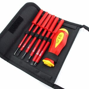 Insulated Screwdriver Set Electrician Dedicated Cr v Slotted Phillips 1000v New