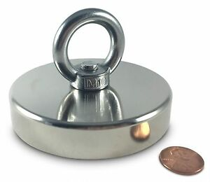 Ox Magnetics Round Neodymium Magnet With Countersunk Hole And Eyebolt Over 50