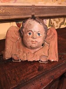 Antique French 17th Century Angel Carved Wood Cherub Hand Painted 4 Tall