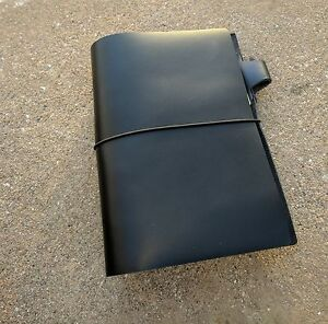6 Ring 1 A6 Genuine Leather Cowhide Black Personal Size Planner Handmade