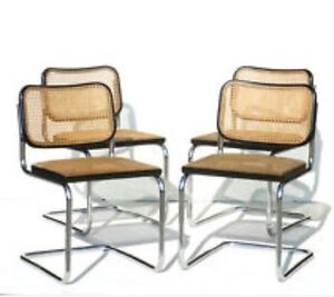 4 Caned And Chrome Marcel Breuer Dining Chairs