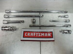 New Craftsman 9 Pc 1 4 3 8 Extension Bar Universal Joint Set Tool Socket