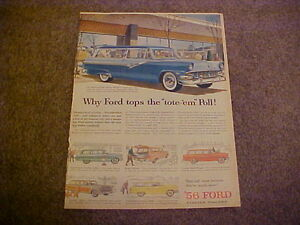 1956 Ford Country Sedan Squire Parklane Ranch Station Wagon large Color 56 Ad