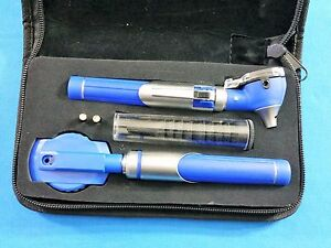 New Professional Led Fiber optic Mini Opthalmoscope Otoscope Diagnostic Set Blue