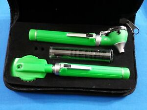 Professional Led Fiber Optic Mini Opthalmoscope Otoscope Diagnostic Set Green
