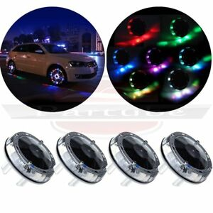 4x Led Solar Car Wheel Tire Valve Flash Decor Lamp Valve Cap Colorful Neon Light