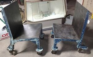 2 Reclaimed Vintage Industrial Material Handling Carts Angry Chairs Lowered