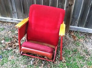 Many Used Vintage Rocking Waiting Room Theater Movie Chair Wood Back Seats