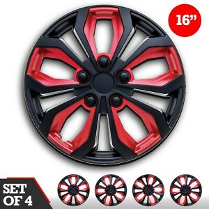 Set 4 Hubcaps 16 Wheel Cover Spa Black Red Abs Easy To Install Universal Fit