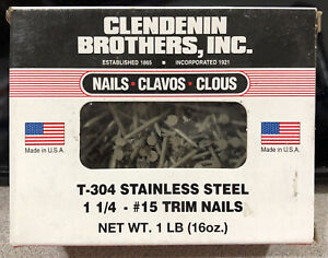 1lb 600 Nails 304 Clay Stainless Steel Trim Nails 1 1 4 Box 15 Gauge Usa