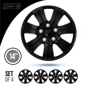 14 Inch Premium Hubcaps Car Motegui Black Abs Easy To Install Set Of 4 Pcs