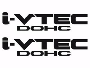 Honda I vtech Dohc Decal Stickers Set Of 2 Civic Accord Prelude Crx Si Black 1