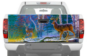 Deers In Forest Tailgate Graphic Decal Sticker Truck Camo Pickup Buck Moose Hunt