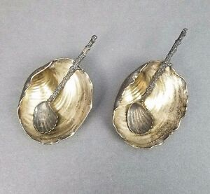 Pair Gorham Narragansett Sterling Silver Salt Cellars Antique Shell Exceptional